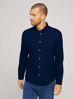 TOM TAILOR Slim fit overhemd met gestructureerde stof, Dark Blue