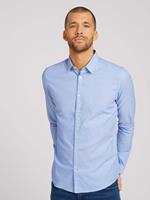 TOM TAILOR Slim fit overhemd met gestructureerde stof, light blue white structure