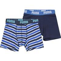 PUMA - jongens 2-pack printed stripes blauw && wit - 122/128