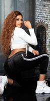 Cosmoda Collection Trendy thermo sweatpants met contrasterende strepen zwart