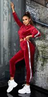 Cosmoda Collection Trendy fashion sport set / sweatpants + hoodie bordeaux