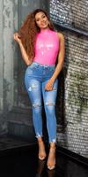 Cosmoda Collection Sexy hoge taille gebruikte used look jeans slim fit blauw