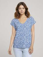 Tom Tailor Denim Blouse met korte mouwen met Cut-Out Detail, mid blue flower print