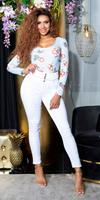 Cosmoda Collection Sexy hoge taille jeans met knopen wit