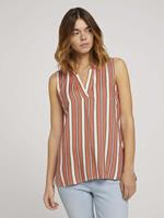 TOM TAILOR DENIM blouse met dessin, coral creme black stripe