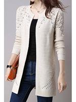 BERRYLOOK Collarless Snap Front Crochet Hollow Out Trench Coats