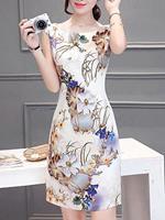 BERRYLOOK Round Neck Chiffon Print Short Sleeve Bodycon Dress