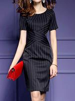 BERRYLOOK Round Neck Vertical Striped Bodycon Dress
