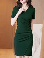 BERRYLOOK V-neck Solid Color Bodycon Dress