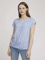 Tom Tailor Denim Blouse met korte mouwen met dessin, light blue vertical stripe