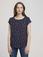 Tom Tailor Denim Blouse met korte mouwen met dessin, navy flower print