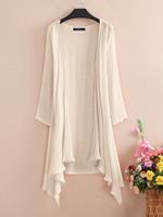 ZANZEA Solid Color Long Sleeve Asymmetrical Loose Kimono For Women