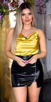 Cosmoda Collection Sexy faux silk cowl halter top geel