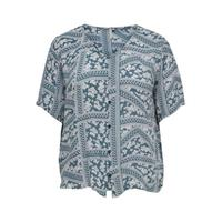 ONLY CARMAKOMA top CARSUPER met all over print blauw/wit
