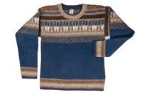 EcuaFina Warme blauwe alpaca trui Blue