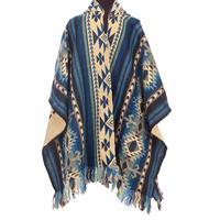 EcuaFina Blauwe mannen Poncho - warm & kleurrijk Blue