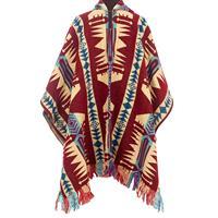 EcuaFina Rode mannen Poncho - Warm & Kleurrijk