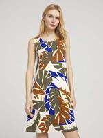 Tom Tailor Jersey Jurk met rugdetail, multicolor botanical design