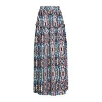 Q/S designed by maxi rok met all over print en ruches roze/blauw