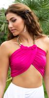 Cosmoda Collection Sexy zomer halter top met ketting roze