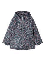 Floral Printed Winter Jacket Dames Blauw