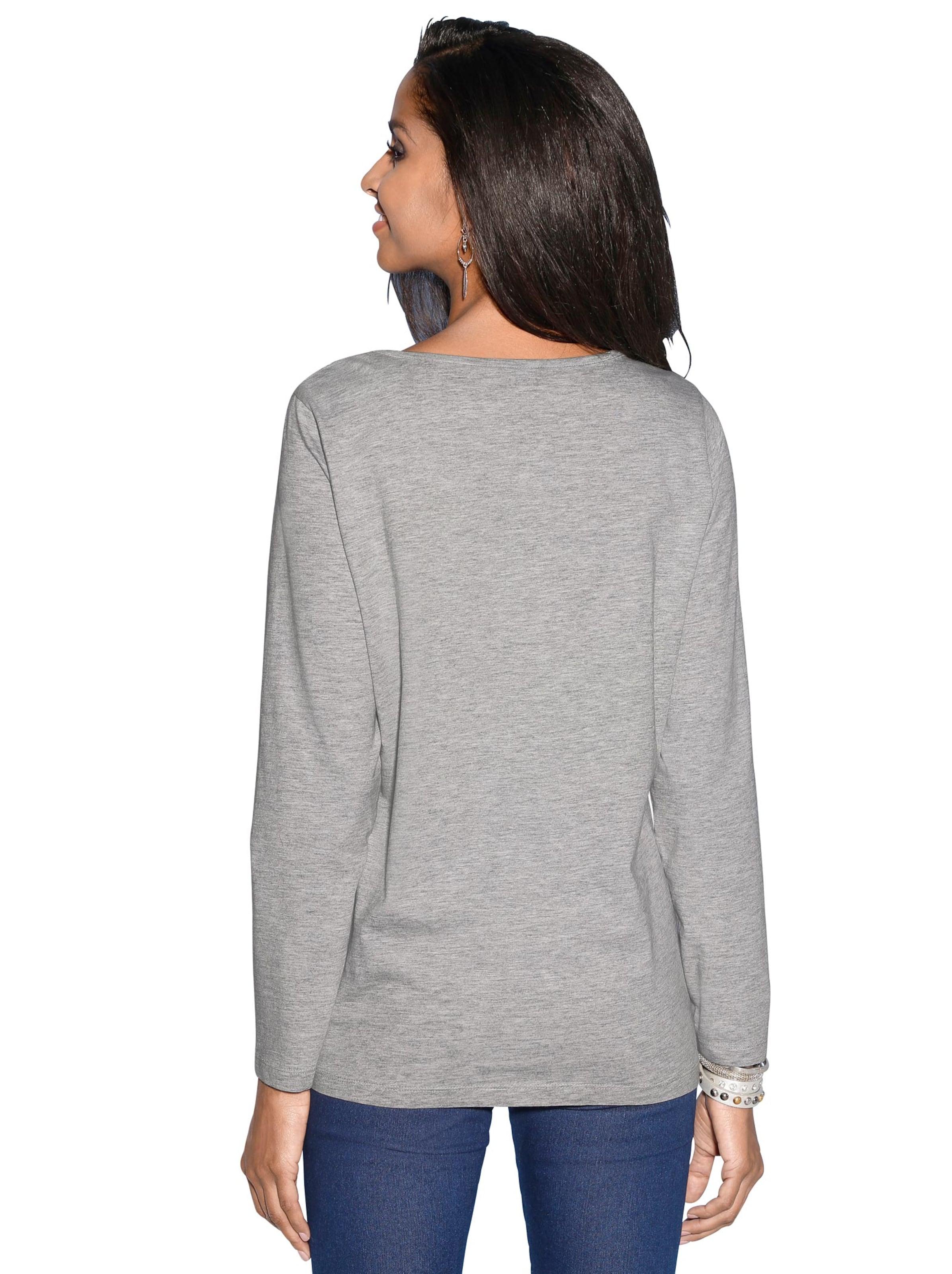 Your Look... for less! Dames Shirt grijs gemêleerd bedrukt Größe