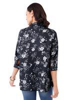 Your Look... for less! Dames Longline blouse zwart geprint Größe