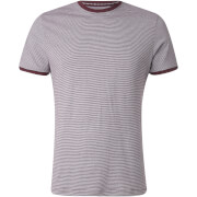 Brave Soul Men's Gandalf Stripe T-Shirt - Burgundy/White - Burgundyrood