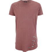 Brave Soul Men's Genko Acid Wash Distressed T-Shirt - Pink - Roze