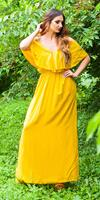 cosmodacollection Sexy Maxi Summer Dress Wrap Look Yellow