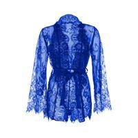 Leg Avenue kanten kimono met stringbody blauw