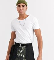 asos Tall - T-shirt met lage ronde hals in wit