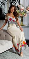 cosmodacollection Sexy off-shoulder maxijurk met bloemen-print beige