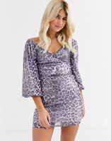 In The Style Veelkleurige mini-jurk met lovertjes en luipaardprint-Multi