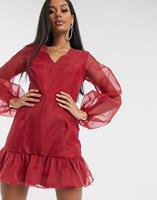 missguided Organza mini-jurk met pofmouwen in rood-Multi