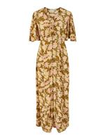 Pieces Bloemenprint Maxi Jurk Dames Brown; Yellow