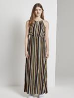 Tom Tailor Maxi lengte Gestreepte Halster Jurk, Dames, black multicolor stripe