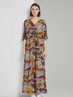Tom Tailor Bedrukte Crêpe Maxi Jurk, Dames, tropical safari print