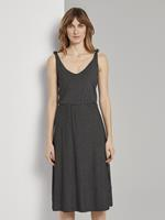 Tom Tailor Gestreepte Midi Jurk met Knoopdetail, black thin stripes