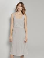 Tom Tailor Gestreepte Midi Jurk met Knoopdetail, offwhite thin stripes