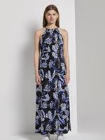 Tom Tailor Halter Maxi Jurk met Tropische Print, black blue tropical print