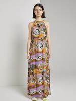 Tom Tailor Bedrukte Maxi jurk met halterhals, tropical safari print