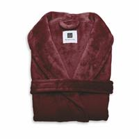 Zo Home Flanel Fleece Badjas Cara - bordeaux red