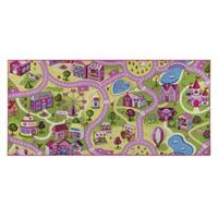 Leen Bakker Vloerkleed Sweet town - roze - 95x200 cm