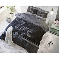 Sleeptime Pure Love - Grijs 1-persoons (140 x 220 cm + 1 kussensloop) Dekbedovertrek