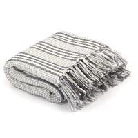 Plaid strepen 125x150 cm katoen grijs en wit