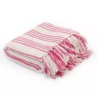 Plaid strepen 160x210 cm katoen roze en wit