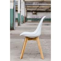 Essence Madera kuipstoel - Wit - Houten poten - Design eetkamerstoel - Eiken