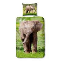 Good Morning Elephant dekbedovertrek - 1-persoons (140x200/220 cm + 1