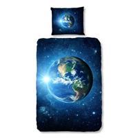 Good Morning kinderdekbedovertrek Earth - blauw - 140x200/220 cm